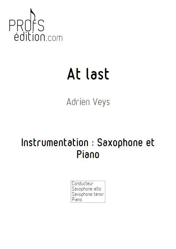 At last - Saxophone Piano - VEYS A. - page de garde