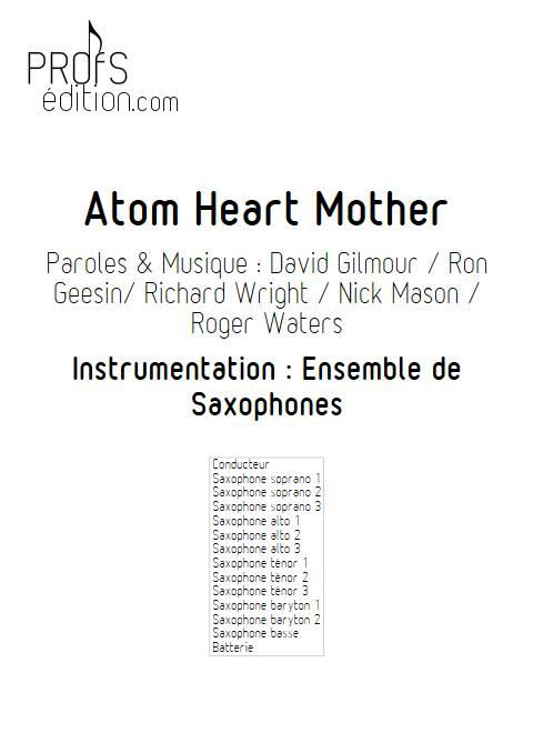 Atom Heart Mother - Ensemble de Saxophones - PINK FLOYD - page de garde