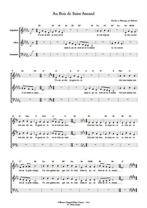 Au Bois de Saint Amand - Chœur 3 voix mixtes - BARBARA - Fiche Pédagogique