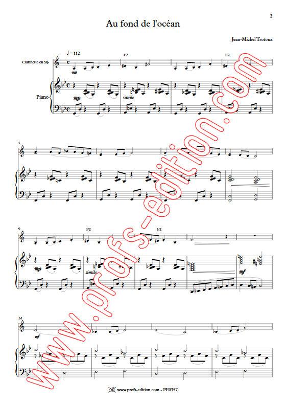 Au fond de l'Océan - Clarinette & Piano - TROTOUX J. M. - app.scorescoreTitle
