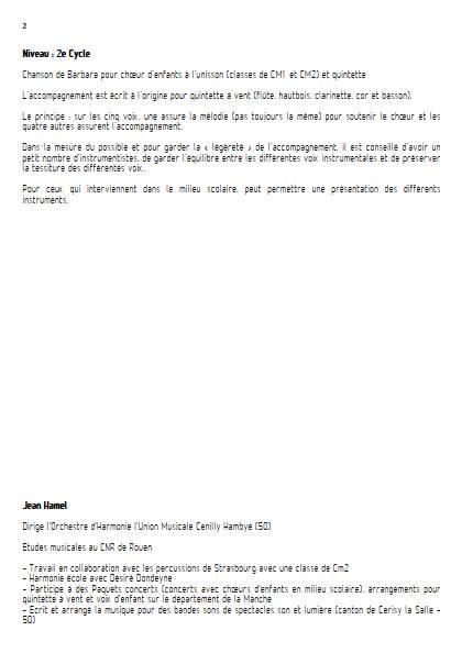 Au bois de saint-Amand - Ensemble Variable - BARBARA - Fiche Pédagogique
