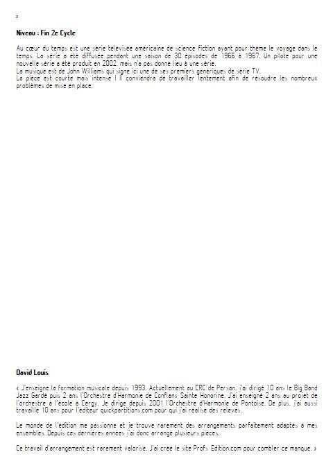 Au cœur du temps - Orchestre d'Harmonie - WILLIAMS J. - Fiche Pédagogique