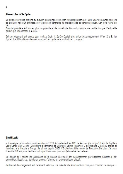 Ave Maria - Ensemble Variable - BACH GOUNOD - Fiche Pédagogique