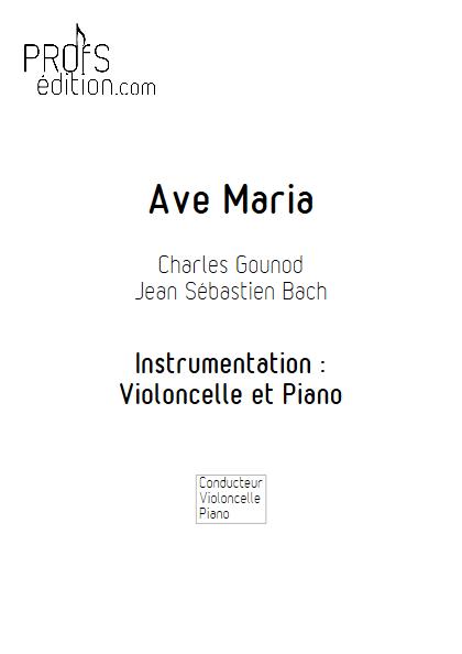 Ave Maria - Violoncelle et Piano - BACH & GOUNOD - page de garde