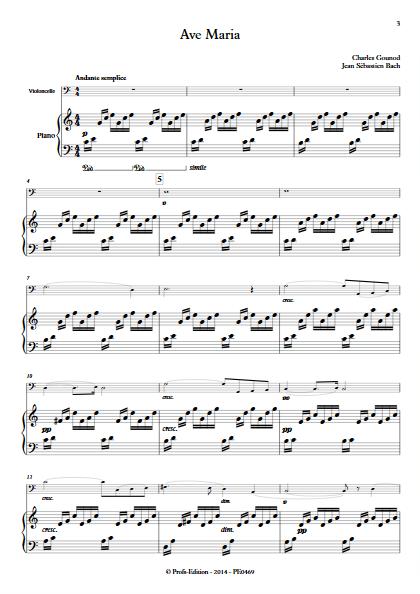Ave Maria - Violoncelle et Piano - BACH & GOUNOD - Partition