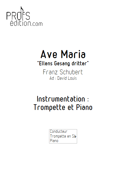 Ave Maria - Trompette et Piano - SCHUBERT F. - page de garde