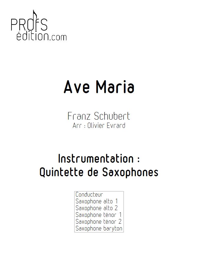 Ave Maria - Quintette de Saxophones - SCHUBERT F. - page de garde