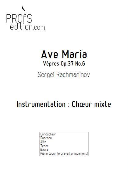 Ave Maria (Vêpres) - Chœur mixte - RACHMANINOV - page de garde