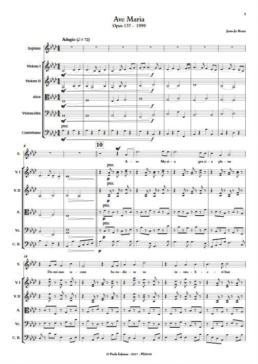 Ave Maria - Soprano & Quintette à Cordes - ROUX J.J. - Partition
