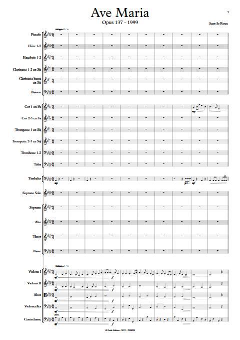 Ave Maria - Soprano & Orchestre Symphonique - ROUX J.J. - app.scorescoreTitle