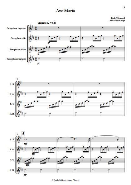 Ave Maria - Quatuor de Saxophones - BACH J. S. GOUDOD C. - Partition