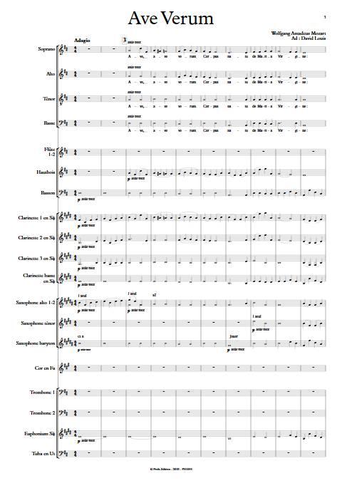 Ave Verum - Chœur et Harmonie - MOZART W. A. - Partition