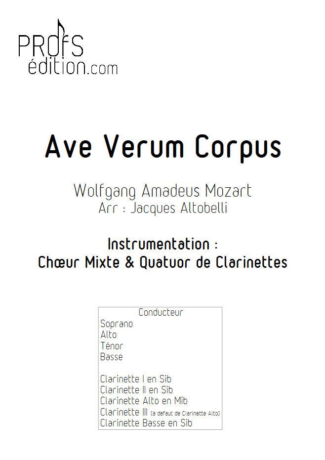 Ave Verum Corpus - Chœur & Quatuor Clarinettes - MOZART W. A. - page de garde