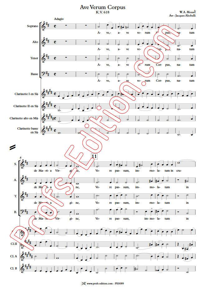 Ave Verum Corpus - Chœur & Quatuor Clarinettes - MOZART W. A. - Partition