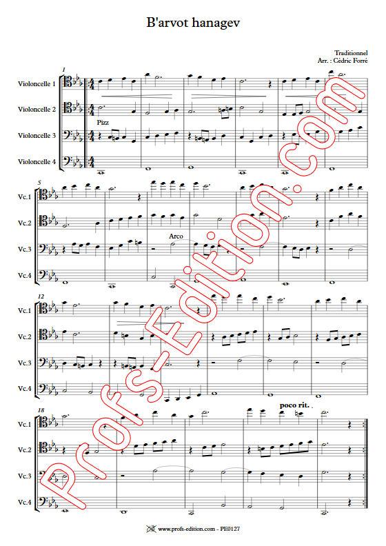 B'arvot hanagen - Quatuor Violoncelles - FORRÉ C. - Fiche Pédagogique