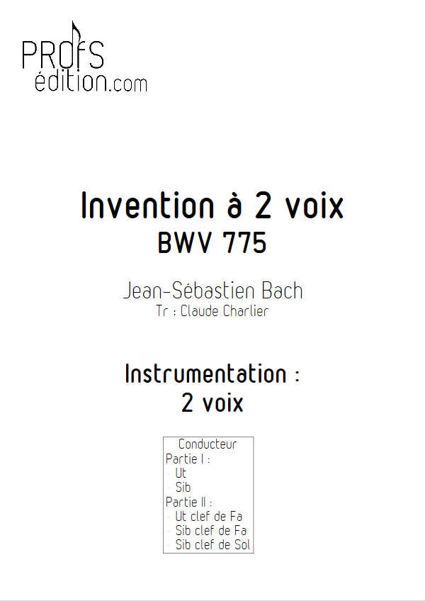 Invention BWV 775 - Duo - BACH J. S. - page de garde