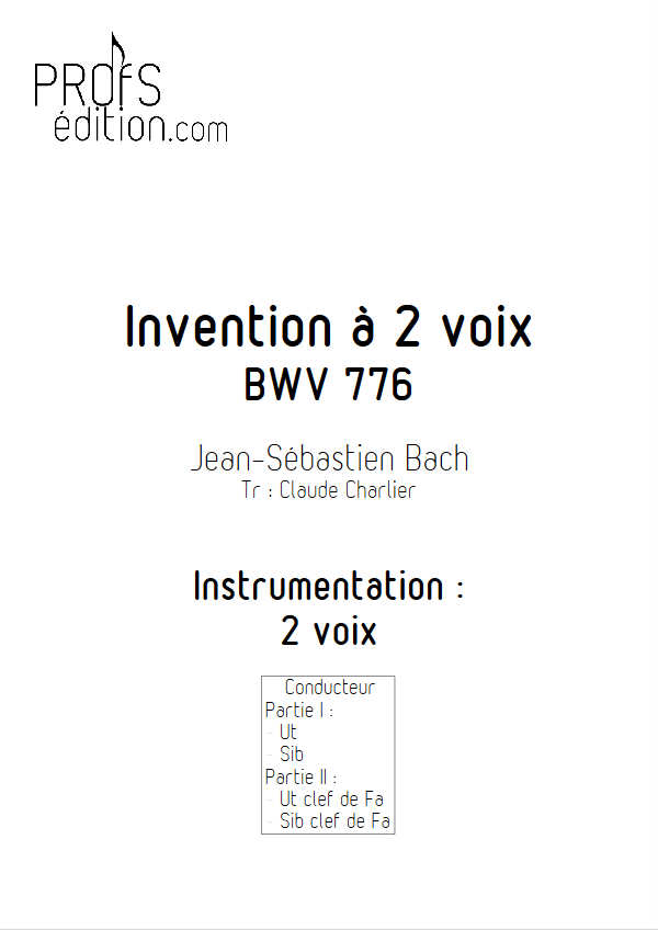 Invention BWV 776 - Duo - BACH J. S. - page de garde