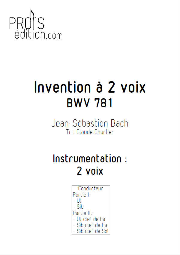 Invention BWV 781 - Duo - BACH J. S. - page de garde