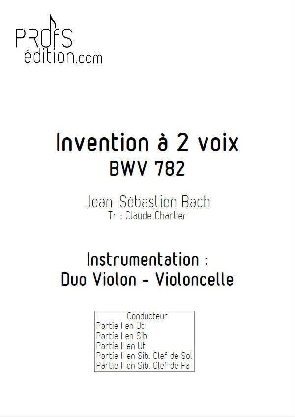 Invention BWV 782 - Duo - BACH J. S. - page de garde
