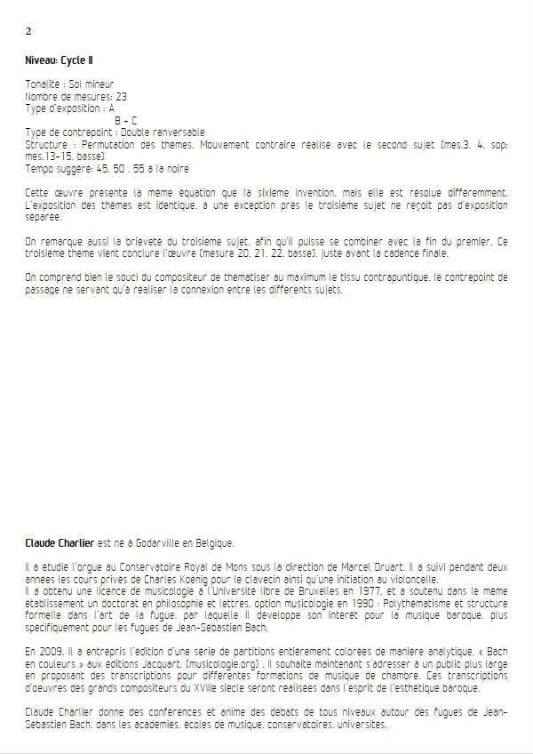 Invention BWV 782 - Duo - BACH J. S. - Fiche Pédagogique