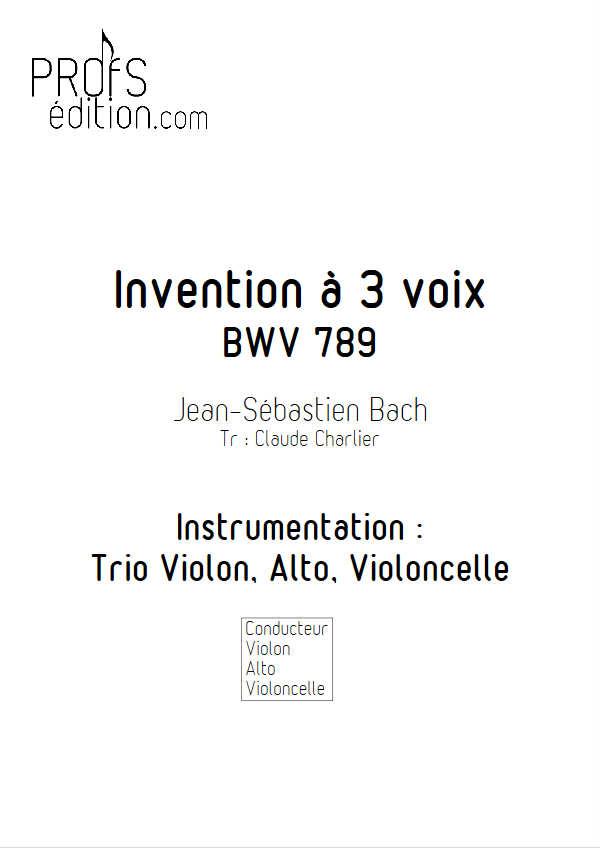 Invention BWV 789 - Trio - BACH J. S. - page de garde