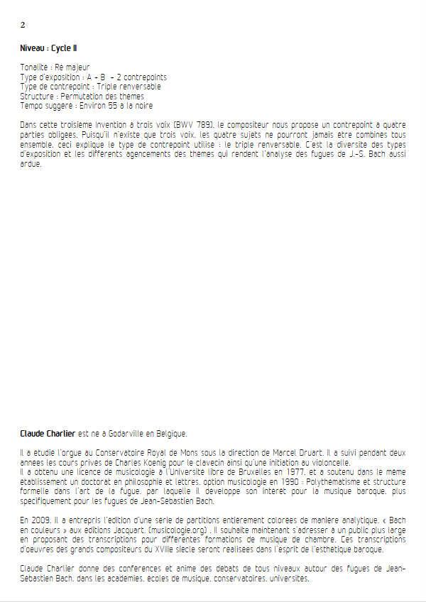 Invention BWV 789 - Trio - BACH J. S. - Fiche Pédagogique