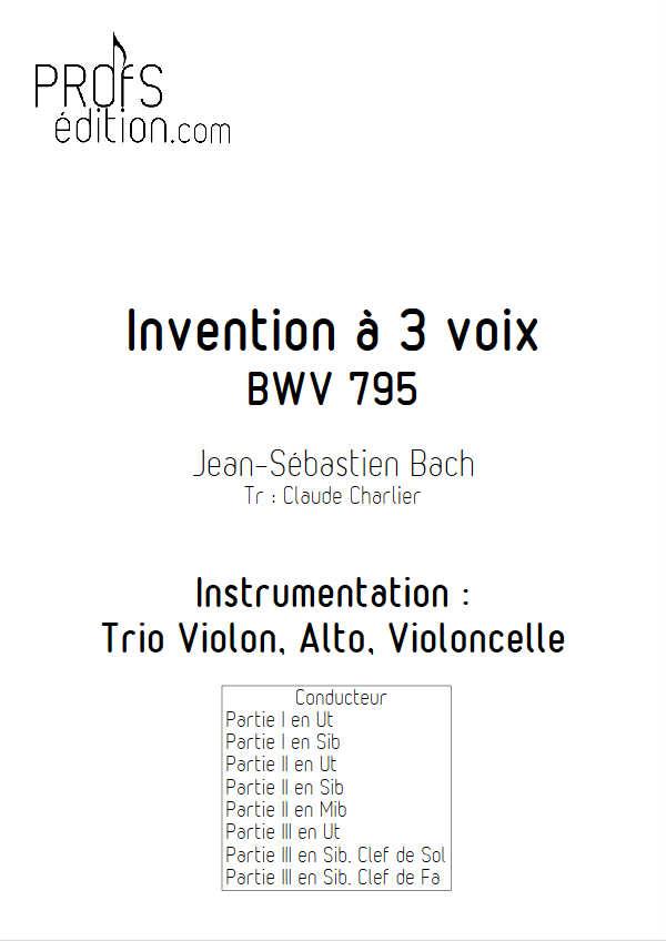 Invention BWV 795 - Trio - BACH J. S. - page de garde