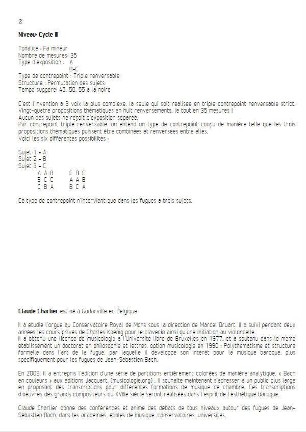 Invention BWV 795 - Trio - BACH J. S. - Fiche Pédagogique
