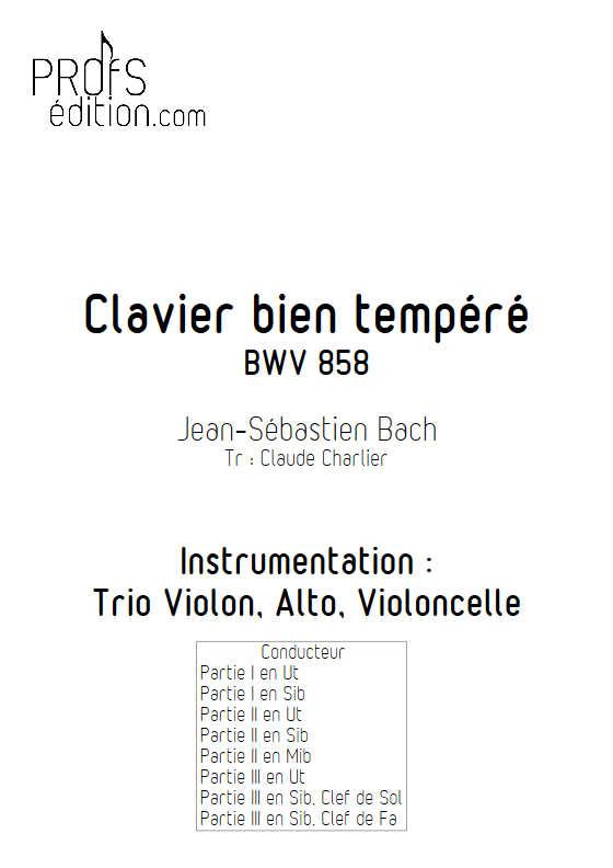 Fugue du Clavier bien tempéré BWV 858 - Trio - BACH J. S. - page de garde