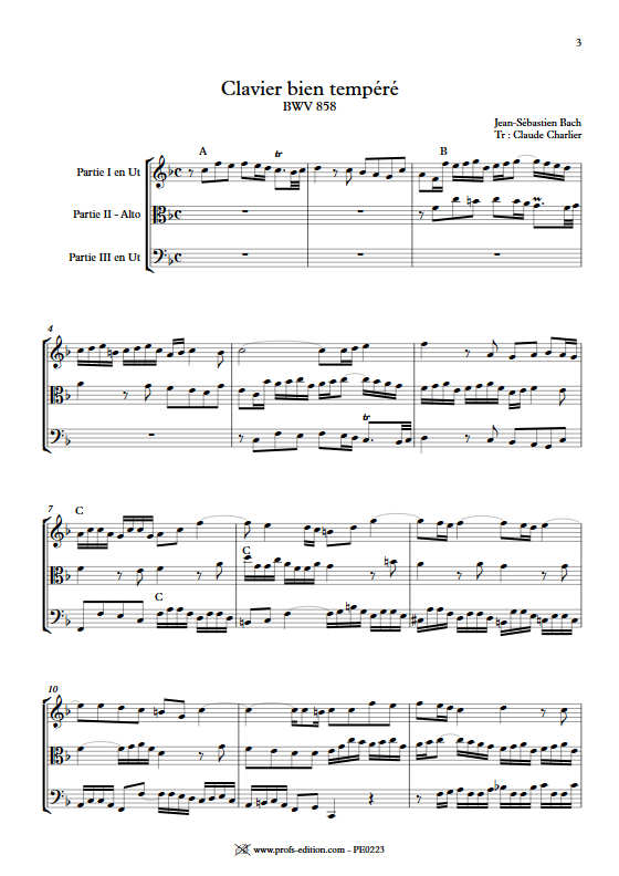 Fugue du Clavier bien tempéré BWV 858 - Trio - BACH J. S. - app.scorescoreTitle