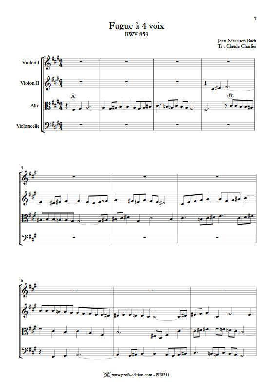 Clavier bien tempéré BWV 859 - Quatuor à Cordes - BACH J. S. - Partition