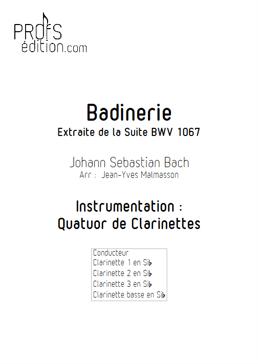 Badinerie BWV 1067 - Quatuor de Clarinettes - BACH J. S. - page de garde