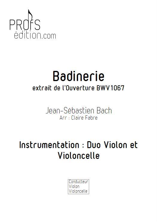 Badinerie - Duo violon Violoncelle - BACH J. S. - page de garde