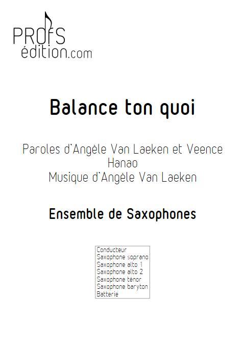 Balance ton quoi - Ensemble de Saxophones - ANGELE - page de garde