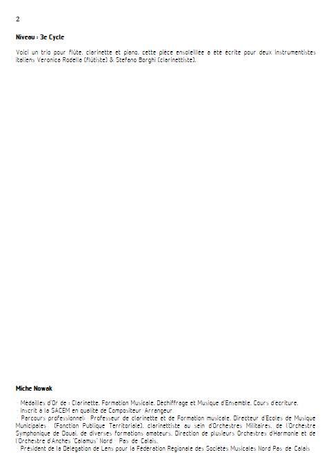 Ballade tropicale - Trio Flûte Clarinette Piano - NOWAK M. - Fiche Pédagogique