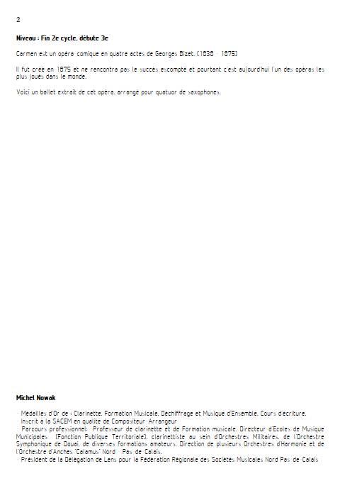 Ballet de Carmen - Quatuor de Saxophones - BIZET G. - Fiche Pédagogique