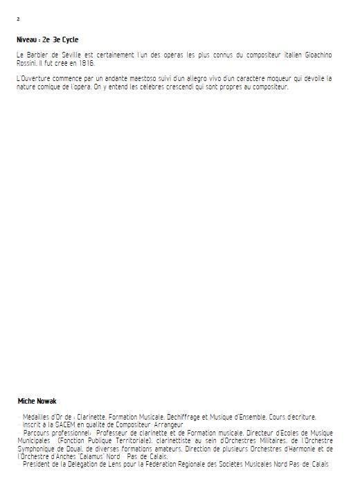 Barbier de Séville - Quatuor de Saxophones - ROSSINI G. - Fiche Pédagogique