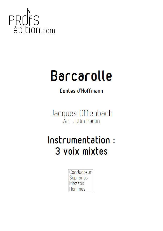 Barcarolle - Chœur 3 voix mixtes - OFFENBACH J. - page de garde