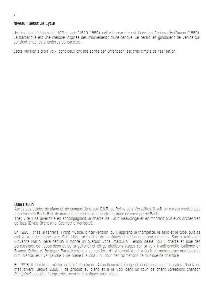 Barcarolle - Chœur 3 voix mixtes - OFFENBACH J. - Fiche Pédagogique