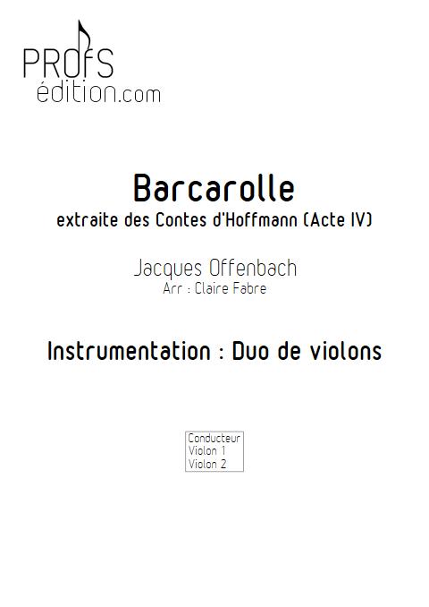 Barcarolle - Duo Violons - TCHAIKOVSKI P. I. - page de garde