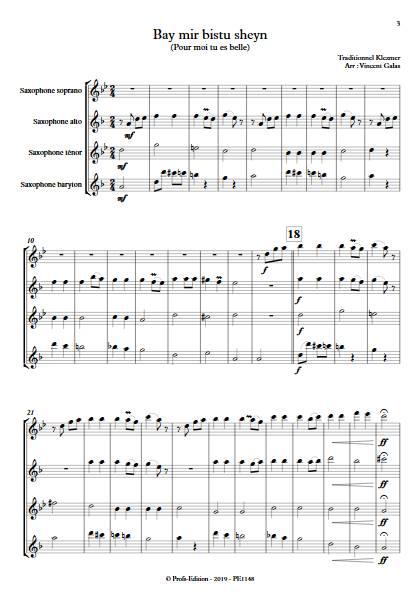 Bay mir bistu sheyn - Quatuor de Saxophones - TRADITIONNEL KLEZMER - app.scorescoreTitle