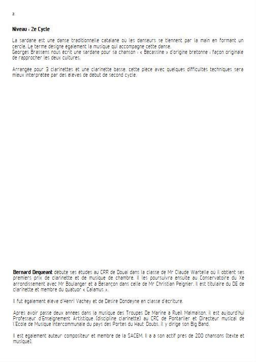 Becassine - Quatuor de Clarinettes - BRASSENS G. - Fiche Pédagogique
