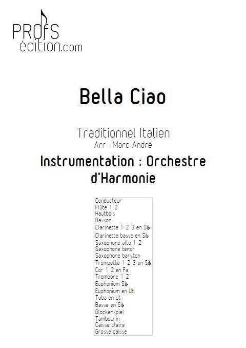 Bella Ciao - Orchestre d'Harmonie - TRADITIONNEL ITALIEN - page de garde