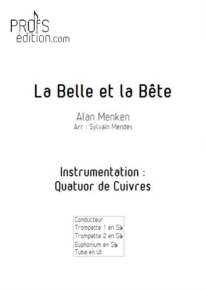 La Belle et le Bête - Quatuor Cuivres - MENKEN Alan - page de garde