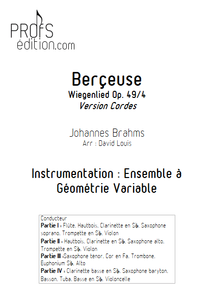 Berceuse (Wiegenlied) - Ensemble à Géométrie Variable - BRAHMS J. - page de garde