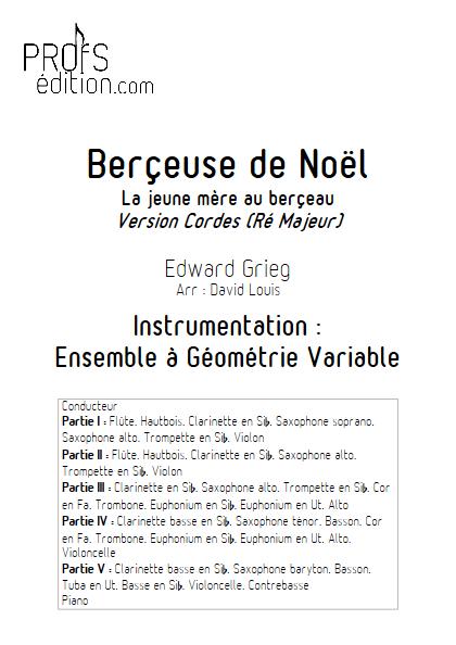 Berceuse de Noël -Ensemble à Géométrie Variable - GRIEG E. - page de garde