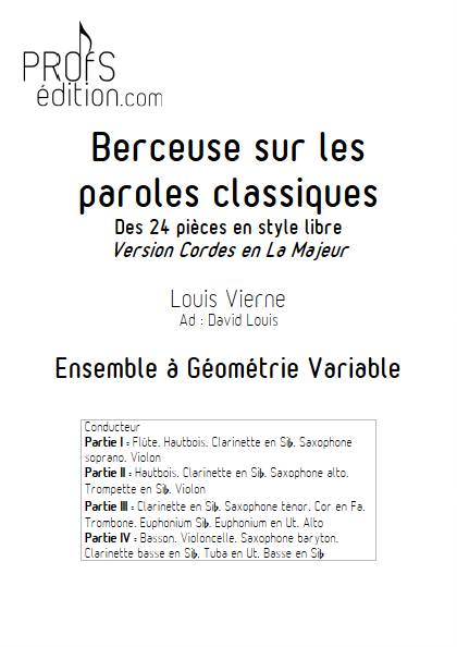 Berceuse - Ensemble Variable - VIERNE L. - page de garde