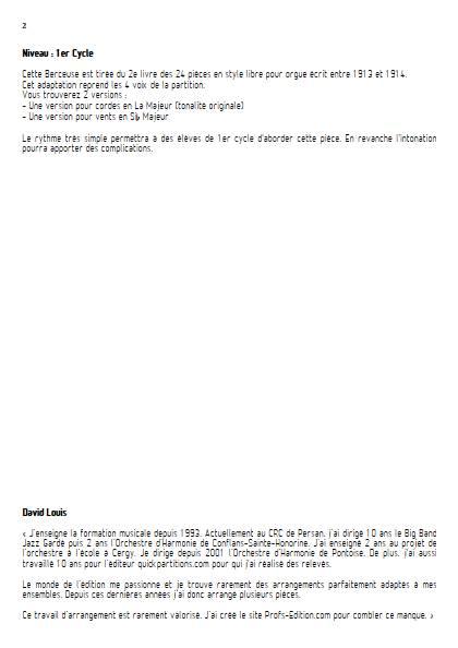 Berceuse - Ensemble Variable - VIERNE L. - Fiche Pédagogique
