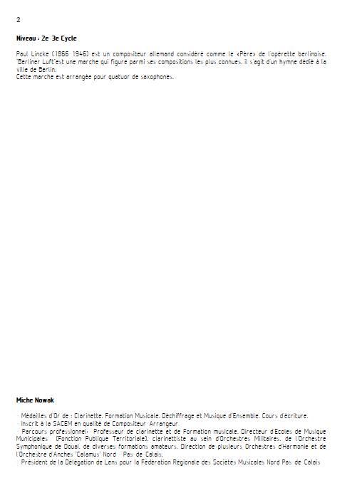 Berliner Luft - Quatuor de Saxophones - LINCKE P. - Fiche Pédagogique