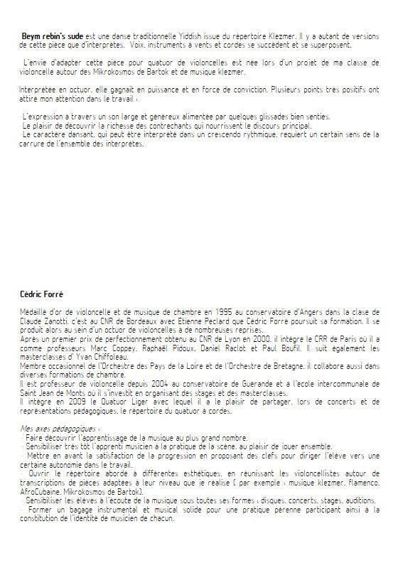 Beym rebin's sude - Quatuor Violoncelles - FORRÉ C. - Fiche Pédagogique